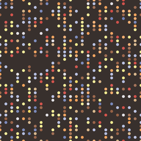 Regular vector texture from lmulticolor ordered circles with random spaces on a brown background. Punch card stile.
