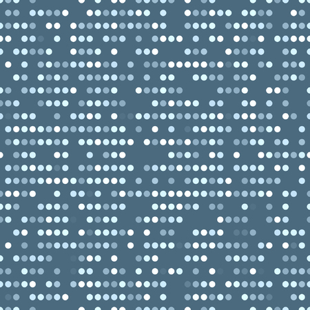Regular vectorial texture from light-blue ordered circles with random spaces on a blue background. Punch card stile.