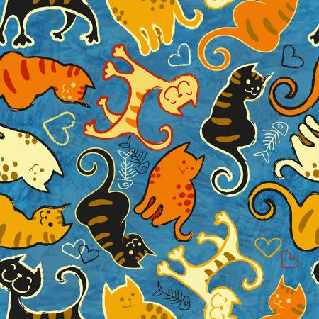 Nahtloses Muster mit netten Karikaturgekritzelkatzen auf blauem Hintergrund. Kleine bunte Kätzchen. Lustige Tiere. Abbildung für Kinder. Vektorbild Eps-8