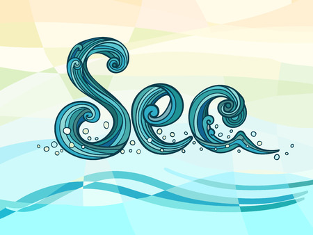 oceanic: Sea. Vector drawing for prints with phrase. Modern hand drawn lettering print jn abstract geometry background.. Vector Design element for travel company. Eps-8