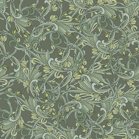 Seamless background baroque style brown color. Vintage luxury Pattern. Retro Victorian. Ornament Damascus style. Elements of flowers, leaves. Vector illustration. Wallpaper, print packaging, textiles. Ilustração