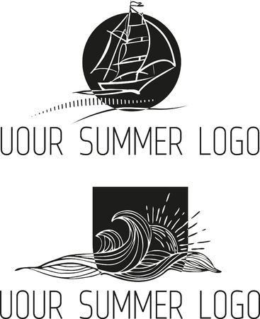 brand identity: Vintage hand drawn black and white emblem of Summer rest club with waves, ship and sun.