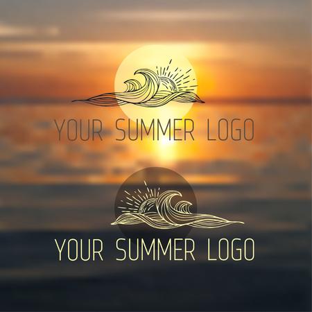 Travel summer design. Ocean beach with sunset. Vector blurred banner. Typography label jr logotipe.