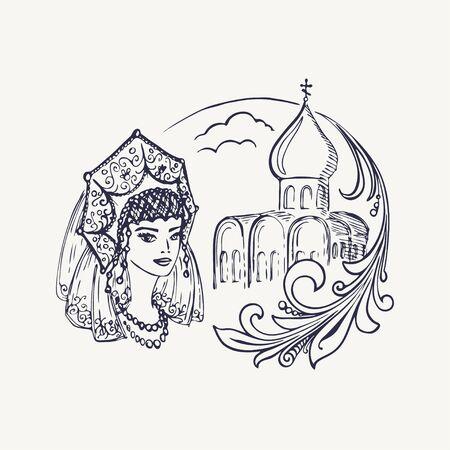 Stylized drawing of the church, girls in kokoshnik and Khokhloma branch. Vector illustration. Eps-8 Illustration