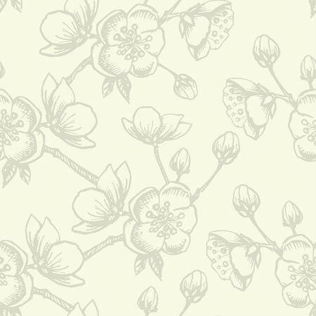 lineart: Apple flower blossom hand drawn, seamless vector floral pattern, outline art for greeting card, package design cosmetic, wedding invitation, wallpaper beauty