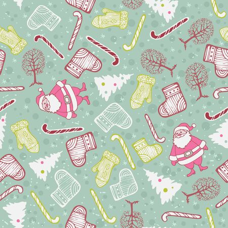 Vector Christmas seamless pattern with mittens, socks, Christmas trees, trees, candy and Santa Claus.