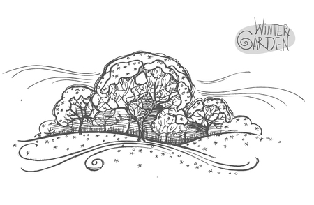 Handsketched vector illustration of winter garden. Freehand linear hand drawn picture retro doodle graphic style. Фото со стока - 89093969