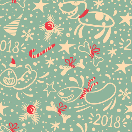 New year seamless pattern with dog, fir branches and bones. Stock Photo