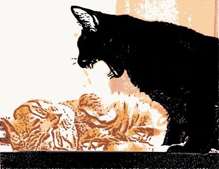 Evil black cat threatens the red cat vector illustration.