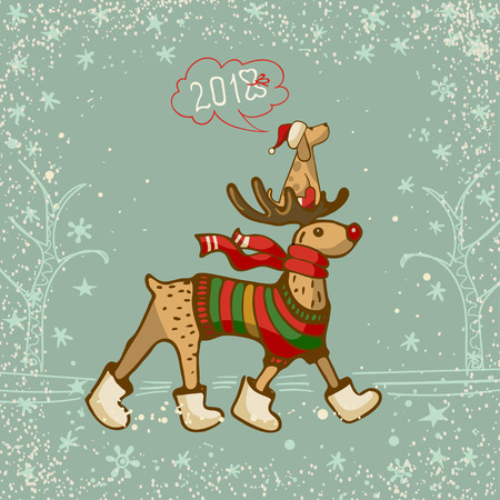 A hand drawn deer in a striped sweater and a red scarf with a little dog in Santas hat.