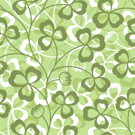 Clover leaves seamless vector pattern. St. Patricks Day green background. Shamrock wallpaper Illustration