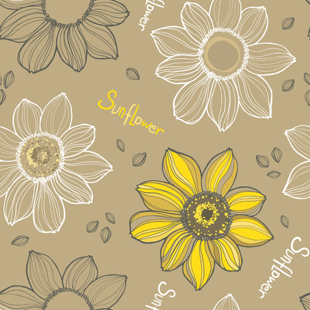 Sunflower. Vector hand drawn sunflowers seamless pattern on yellow background.Great for label, poster, web, packing