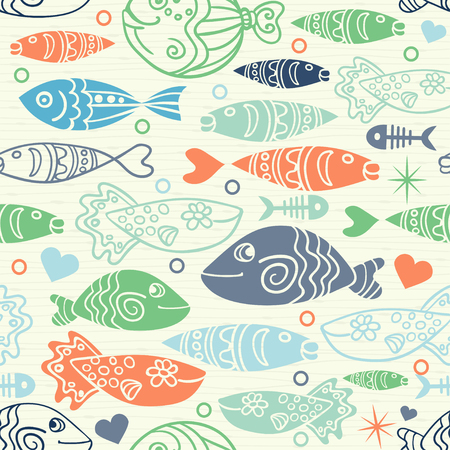 Underwater vector abstract background, tropical sea fish seamless pattern. Colorful summer design.