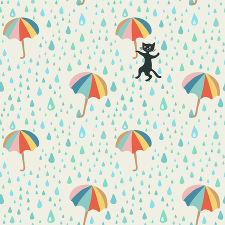 Vector doodle pattern with rain drop, flying umbrellas and mischievous black cat. Beautiful abstract pattern, season illustration