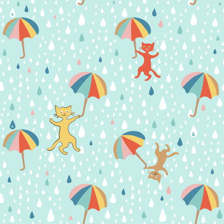 Raining cats and dogsGraphic seamless pattern. Doodle Style. Hand drawing