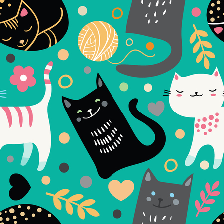 Vector seamless pattern with hand draw textured cats in graphic doodle style. Colored endless background. Иллюстрация