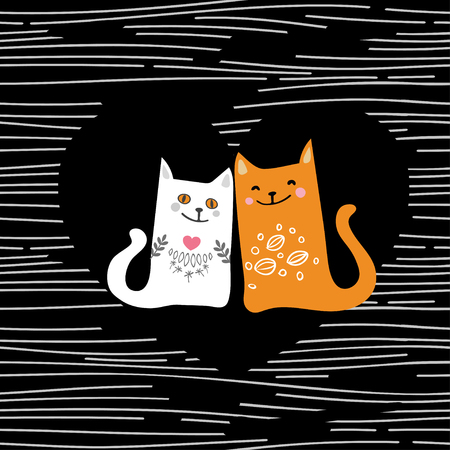 Vector illustration draw character design couple love of cat in valentine day and word love. Illustration