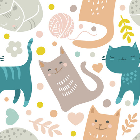 Vector seamless pattern with hand draw textured cats in graphic doodle style.