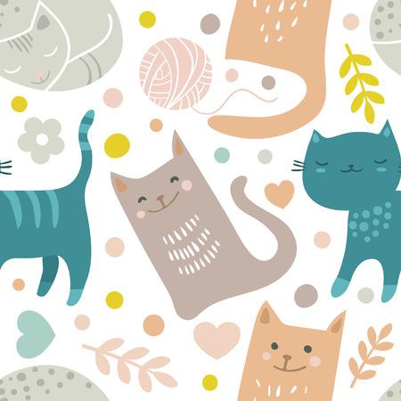 Vector seamless pattern avec des mains dessiner des chats dessinés dans le style doodle de bande dessinée Banque d'images - 94340124