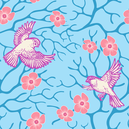 Spring sakura blossom and flying birds seamless pattern Japanese and Chinese style. Eps-8