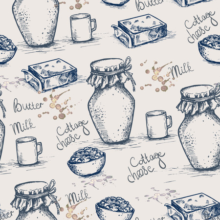 Ink hand drawn vector seamless background of dairy products. Milk, cottage cheese, butter and lettering vintage sketch texture for recipe, print.