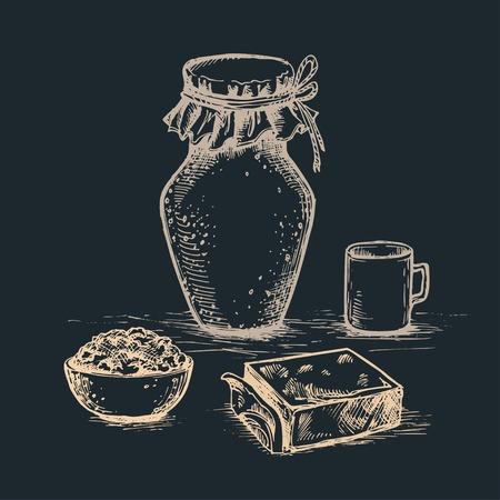 Ink hand drawn vector set of dairy products on dark background. Milk, cottage cheese, butter and lettering vintage sketch illustration for recipe, print. Ilustração