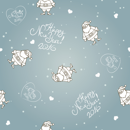 Vector seamless background with Santa, lettering and hearts.  Happy Santa - vector illustration