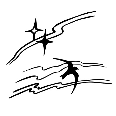 Hand drawn design element with swirl lines and swifts.