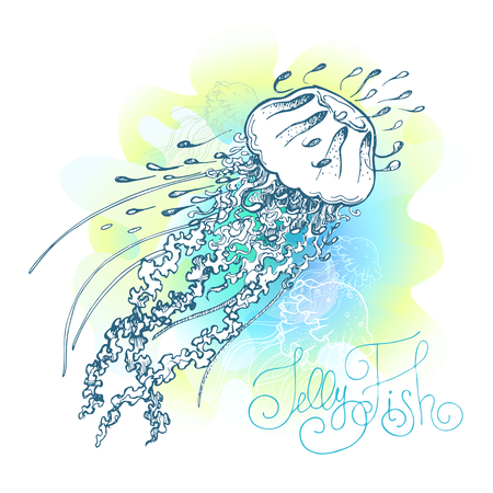 Magic glowing jellyfish underwater. Undersea world. Hand drawn fairy tale illustration for inspiration