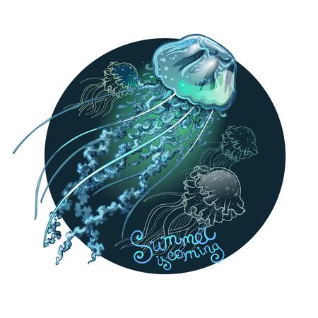 Magic glowing jellyfish underwater. Undersea world. Hand drawn fairy tale illustration for inspiration