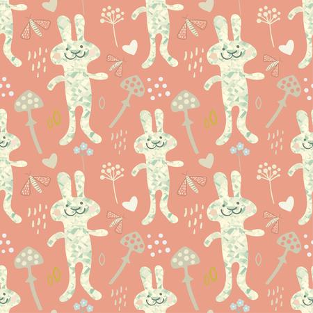 seamless spring bunny rabbit pattern vector illustration royalty