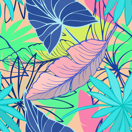 Vector seamless beautiful artistic bright tropical pattern with banana, syngonium and dracaena leaf, summer beach fun. Colorful original stylish floral background print, fantastic forest.