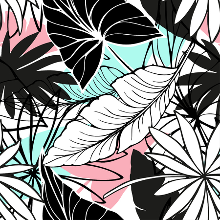 vector seamless beautiful artistic bright tropical pattern with banana, Syngonium and Dracaena leaf, summer beach fun, original stylish floral background print, fantastic forest