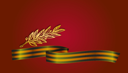 Georgian ribbon and laurel brunch on red background