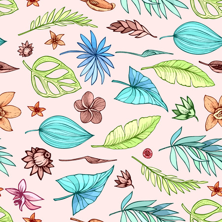 Vector seamless beautiful artistic bright tropical pattern with banana, Syngonium and Dracaena leaf, summer beach fun, colorful original stylish floral background print, fantastic forest.