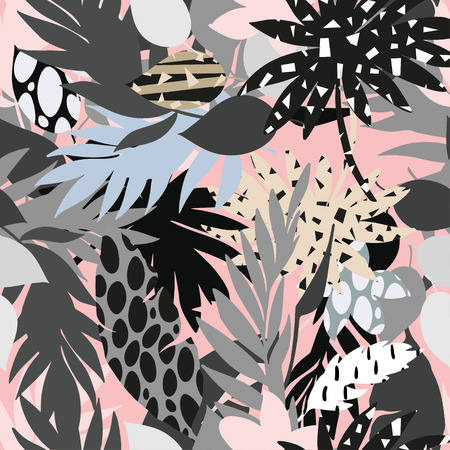 vector seamless beautiful artistic bright tropical pattern with banana, Syngonium and Dracaena leaf, summer beach fun, colorful original stylish floral background print, fantastic forest. Illustration