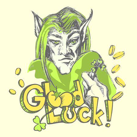 Hand drawn Cartoon leprechaun. Vector Leprechauns head and hand with a clover leaf, coins and inscription Good luck Illustration