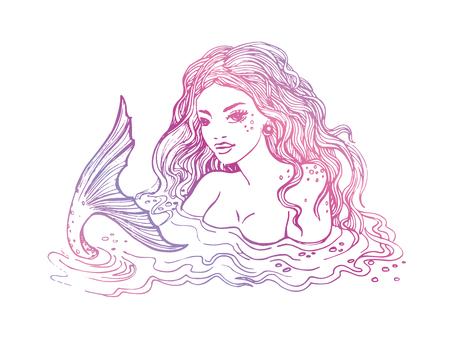 Hand drawn mermaid, on white background, white and black linen vector illustration. Illustration