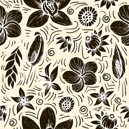 vector seamless beautiful artistic bright tropical pattern with banana, Syngonium and Dracaena leaf, summer beach fun, black and white original stylish floral background print