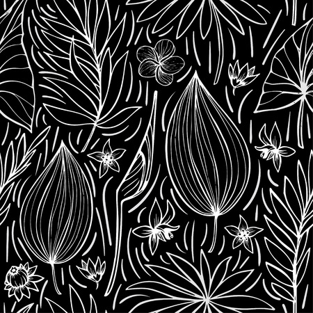 vector seamless beautiful artistic tropical pattern with banana, Syngonium and Dracaena leaf, summer beach fun, black and white original stylish floral background print.