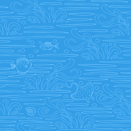 Seamless Funny fish background. Vector background