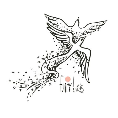 Two fairy-tale birds in love dance in the sky. Flight of soul