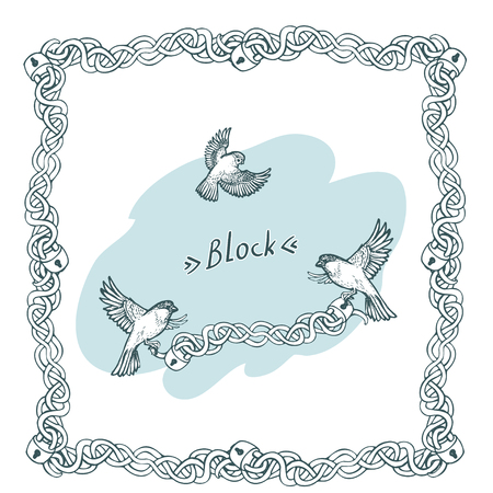 Vector hand drawn border of chains with locks, birds and inscription Block Birds taking away a prick with locks.