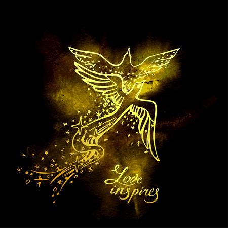 Two glowing Phoenixs in love dance on black background. Flight of soul