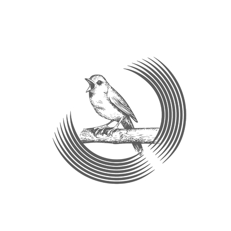 Sings and chirps bird, sits on circular and round branch, logo template. Animals and wildlife, vector design. Nature illustration