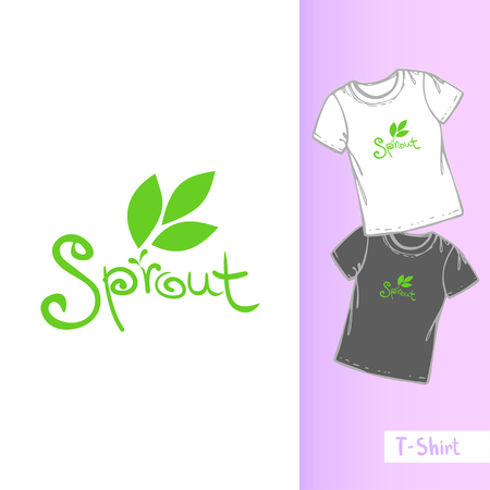 Vector line t-shirt template. Three hand drawn leaf and the inscription SPROUT