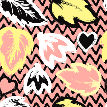 Seamless abstract floral pattern with brush stroke leaves and flowers on pink and black zigzag background. Scandinavian stile Ilustração