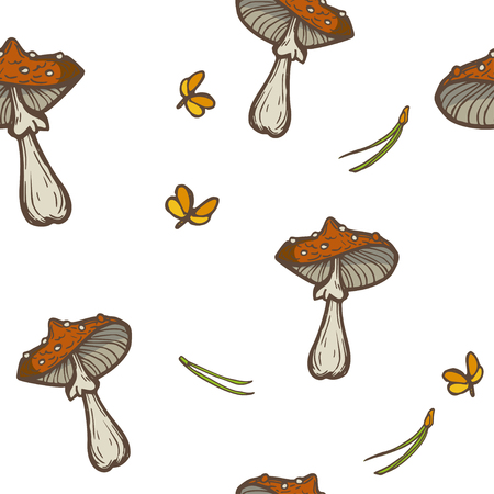 Seamless vector background with mushrooms, needles and moths. Amanita fly agari.