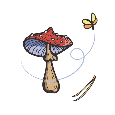 Fly Agaric. Red Amanita Mushroom, needles and flying moths. Hand Drawn Isolated Illustration.