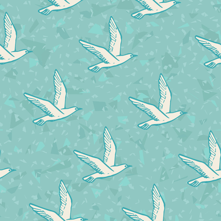 Seamless background with flying Sea Bird and Seagull Vector Illustration. Stock Photo